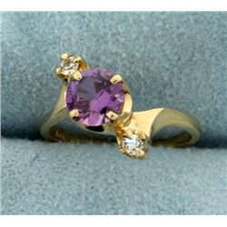 Purple Topaz and White Sapphire Pinky or Child's Ring