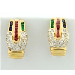 Diamond, Ruby, Emerald, and Sapphire Earrings
