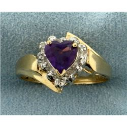 Amethyst Heart and Diamond Ring