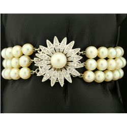 Antique Diamond and Akoya Pearl Three Strand Bracelet