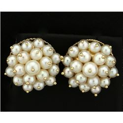 Akoya Natural Pearl Cluster Earrings in 14k Gold