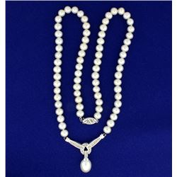 Natural Akoya Pearl and Diamond Necklace