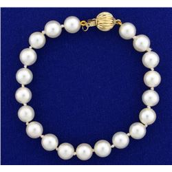 Vintage Akoya Pearl Bracelet with Gold Clasp
