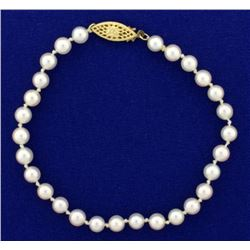 Akoya Pearl Bracelet with 14k Gold Clasp