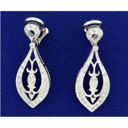 Diamond Clip Back Dangle Earrings in 14k White Gold