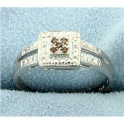 Red Diamond Ring in Split Shank