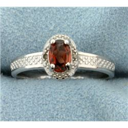 Garnet 0.5CT Ring with Diamonds in Sterling Silver