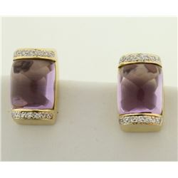 18k Gold Amethyst and Diamond Earrings