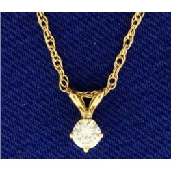 Diamond Pendant on 14k Gold Chain