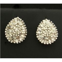 Diamond Baguette and Round Diamond Earrings