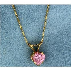 Heart Shaped Pink Topaz Pendant with 14k Gold Chain
