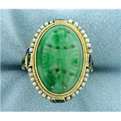 Vintage Jade, Seed Pearl, and Enamel Asian Ring in 14k Gold