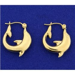 Yellow Gold Dolphin Hoop Earrings