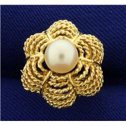Pearl Designer Ring in 14k Gold