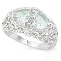 Filigree 2 Stone Aquamarine Ring with Diamond in Sterling Silver