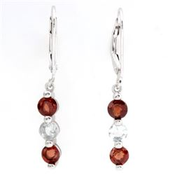 Garnet and Aquamarine Dangle Sterling Silver Earrings