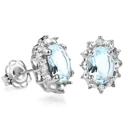 Aquamarine and Diamond Earrings in Sterling Silver