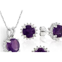 Starburst Amethyst Earrings and Pendant SET in Sterling Silver