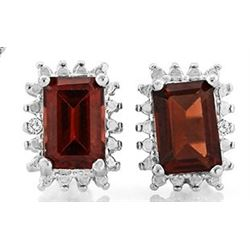 Garnet and Diamond Earrings and Pendant SET in Sterling Silver