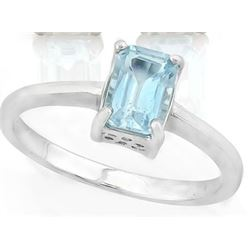 Sky Blue Topaz Emerald Cut Solitaire Ring in Sterling Silver