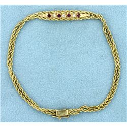 Diamond and Ruby Bracelet in 14k Gold