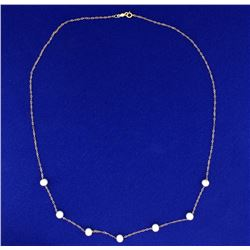 18 Inch Pearl Necklace in 14k Gold