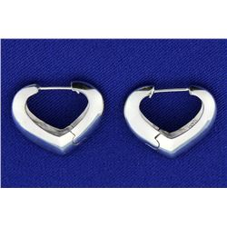 Italian Made White Gold Heart Hoop Earrings