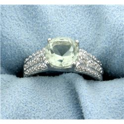 Green Amethyst and Diamond Ring in Plainum over Sterling Silver