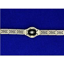 Vintage Filigree Onyx & Diamond Bracelet