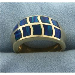 Natural Opal Band Ring in 14k Gold