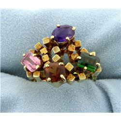 18K Multi-Color Gemstone Ring