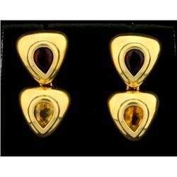 Citrine and Garnet Dangle Earrings