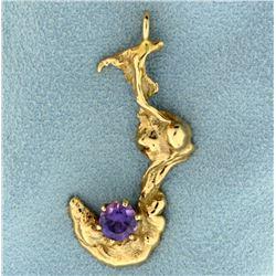 Custom Made Artistic Pendant with Purple Sapphire Gemstone