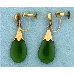 Jade Dangle Screwback Earrings