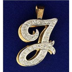 "Initial ""J"" 1/2 ct TW Diamond Pendant"