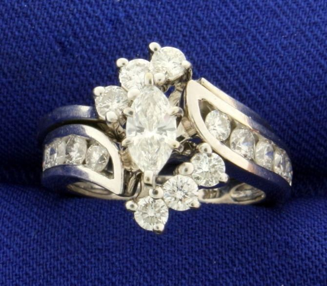 945ca1e610 Image 1 : 1 1/2 ct TW Marquise Diamond Engagement Ring Set in 14k ...