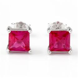 Lab Ruby Princess Cut Square Stud Earrings 5MM in Sterling Silver