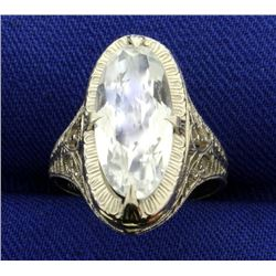 Filigree Antique Style CZ Ring in 14k White Gold