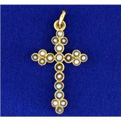 Seed Pearl Cross Pendant in Yellow Gold