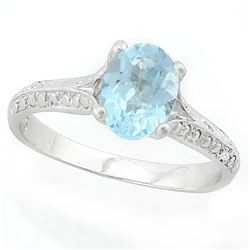 Baby Swiss Blue Topaz Cathedral Sterling Silver Ring