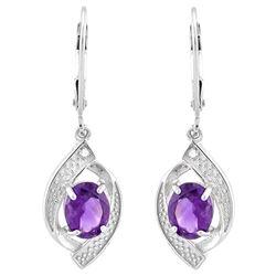 Amethyst and Diamond Dangle Earrings