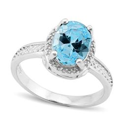 Sky Blue Topaz 2.5CT Halo Style Ring in Sterling Silver