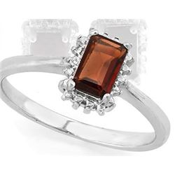 Garnet and Diamond Ring in Sterling Silver