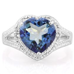 Heart Cut 5CT Violet Mystic Topaz and Diamond Ring in Sterling Silver