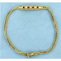 Diamond and Ruby Bracelet in 14k Gold