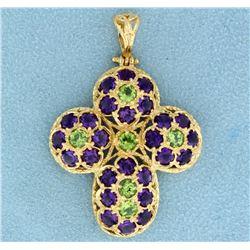8 ct tw Amethyst and Peridot Cross Pendant