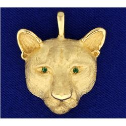 Panther Pendant with Emeralds in 14k Gold