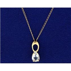 Sky Blue Topaz Pendant with 14k Gold Chain