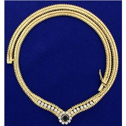 Italian Made Diamond and Sapphire Designer Necklace in 14k Gold