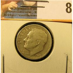 1949 S Roosevelt Dime, Key for the series, Circulated.